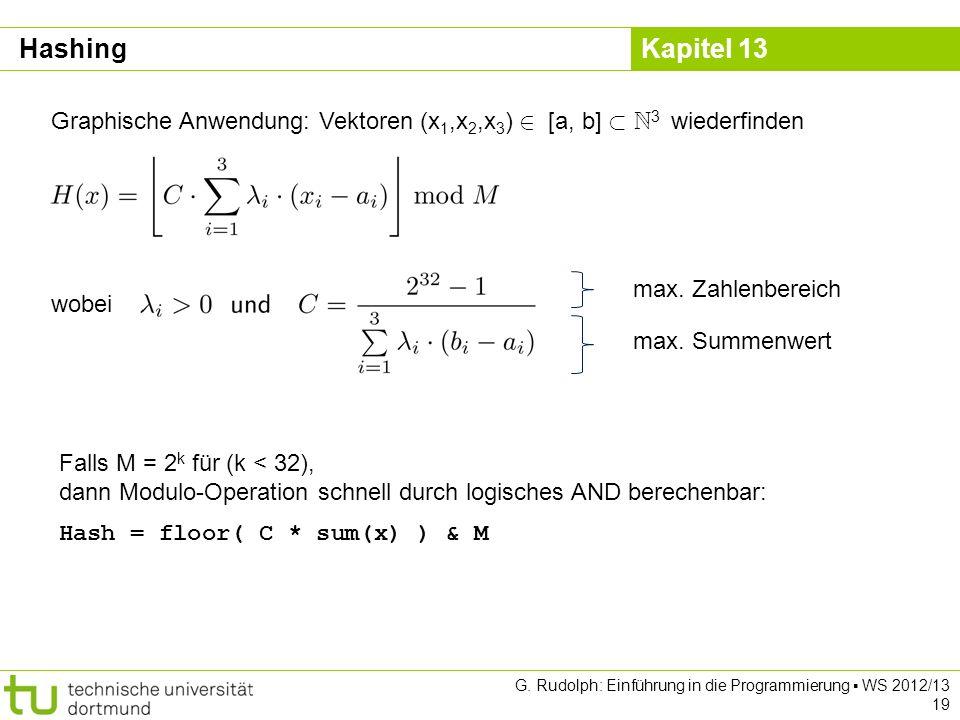 Hashing Graphische Anwendung: Vektoren (x1,x2,x3) 2 [a, b] ½ N3 wiederfinden. wobei. max. Zahlenbereich.